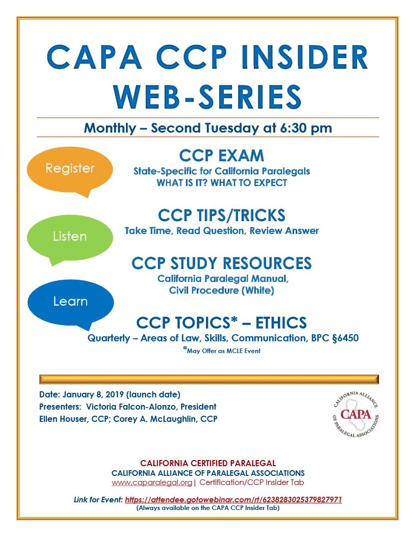 San Francisco Paralegal Association Capa Ccp Insider Web Series Launch
